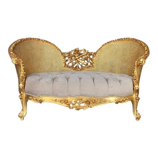 Contemporary French Louis XVI Style Gold and White Settee For Sale