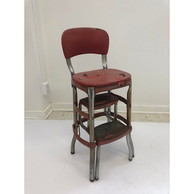 Incredible Vintage Industrial Red Metal Folding Step Stool Ncnpc Chair Design For Home Ncnpcorg