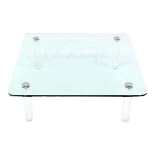 Vintage Mid Century Glass Top Coffee Table For Sale