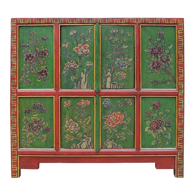 Green Chinese Red Green Floral Graphic Credenza Storage Cabinet For Sale - Image 8 of 9