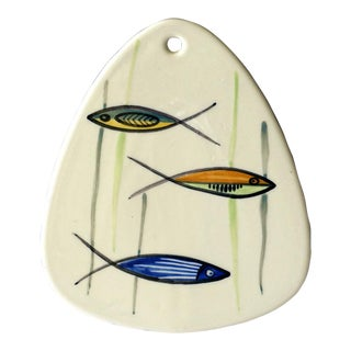 Mid-Century Modern Hand Painted Fish Wall Plaque by Lapid Israel For Sale