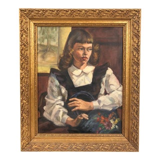 1949 Portrait Young Woman With Flowers Oil on Canvas Painting Signed Fey Marshall, Framed For Sale
