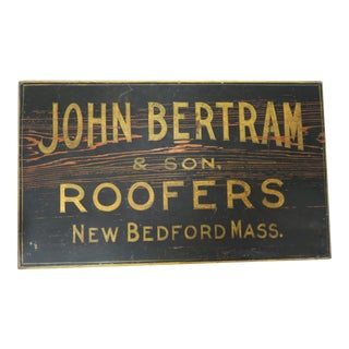 Antique Wood New Bedford Mass. Roofers Sign For Sale