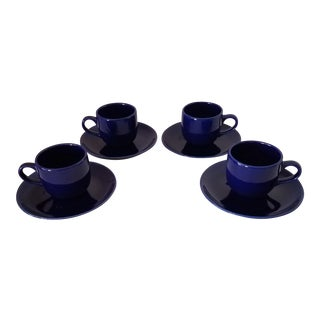 Crown Stoneware Colbalt Blue Espresso Cup and Saucers - Set of 4 For Sale