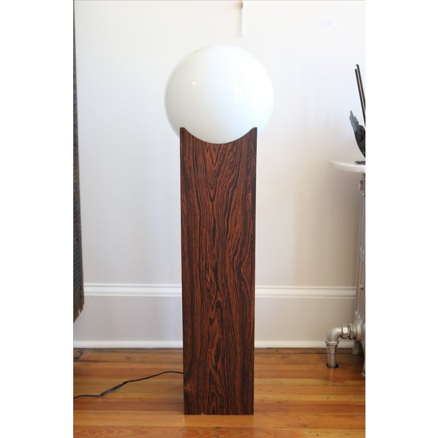 Mid Century Faux Rosewood & Glass Orb Lamp - Image 2 of 4