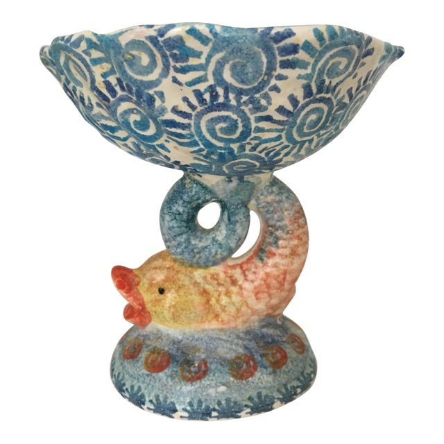 Italian Hand Painted Ceramic Shell Bowl Perched Atop Dolphin Tail For Sale