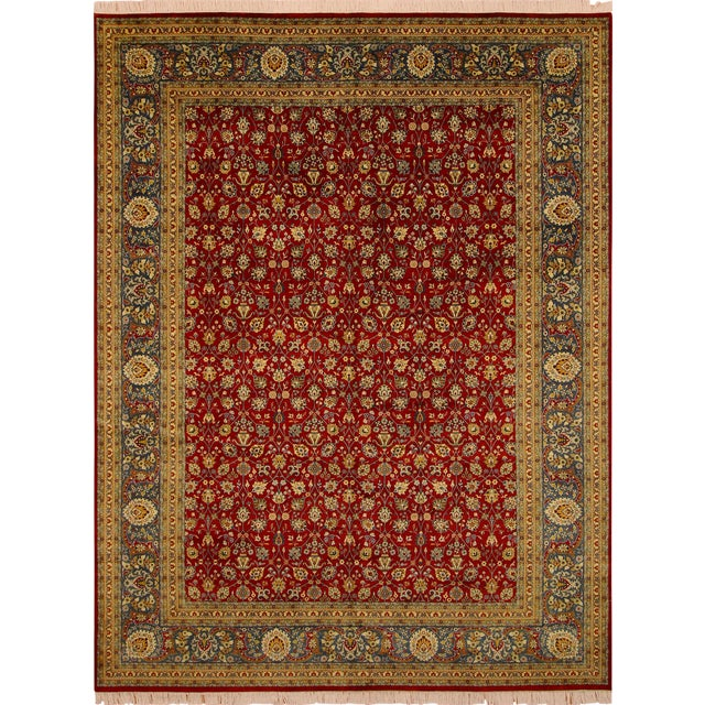 Shabby Chic Pak-Persian Mirna Red/Teal Wool Rug - 9'0 X 12'0 For Sale