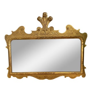 1800's Antique French Gilt Wood Ostrich Feather Mirror For Sale
