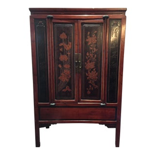 Antique Chinese Cherry & Black Laquered Cabinet For Sale