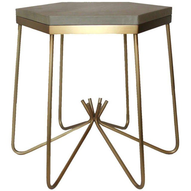 Customizable Richer Leather Top Side Table For Sale In New York - Image 6 of 6