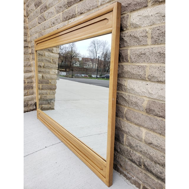 1950s Mid Century John Stuart Blond Wood Large Mirror For Sale - Image 5 of 12
