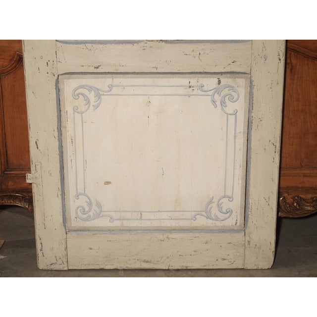 Cream Blue and White Painted Antique Door From Lombardy, Italy Circa 1850 For Sale - Image 8 of 13