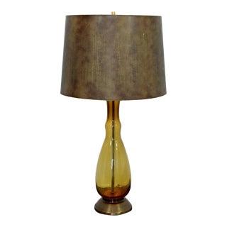 Mid Century Modern Yellow Amber Blenko Glass Table Lamp Brass Base Italian 1970 For Sale