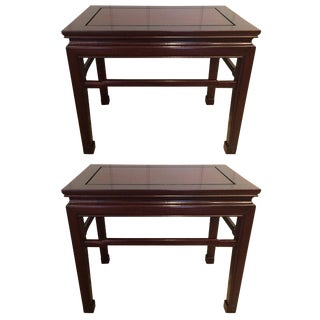 Elegant Traditional Pair of Mahogany End Tables For Sale