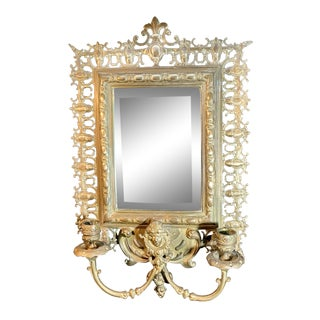 Late 19th Century Antique Victorian Cast Brass Double Arm Sconce and Mirror For Sale