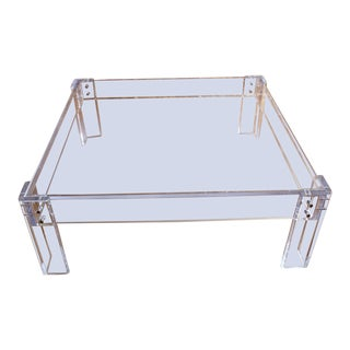 Modern Square Lucite Acrylic Coffee Table With Brass Nailheads For Sale