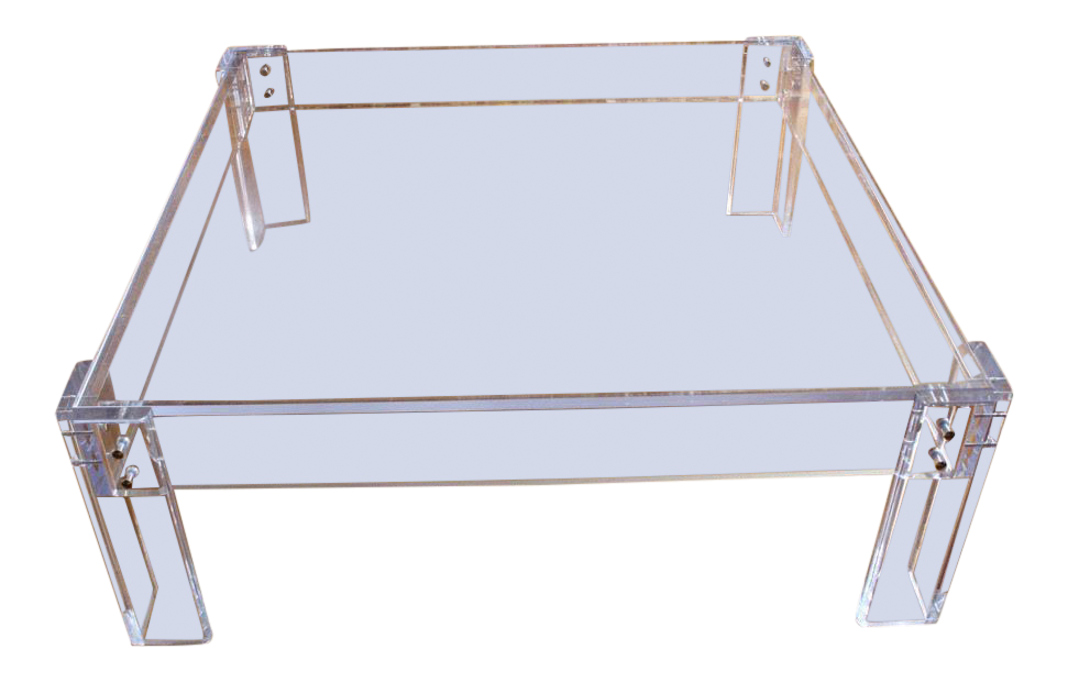 Modern Square Lucite Acrylic Coffee Table With Brass Nailheads