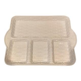 Italian Whiteware Lattice Serving Tray For Sale