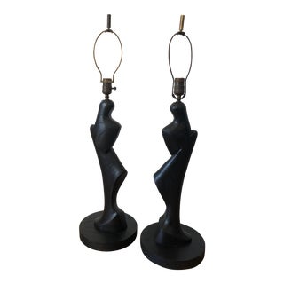 1940s Abstract Ebonized Oak Lamps - a Pair For Sale
