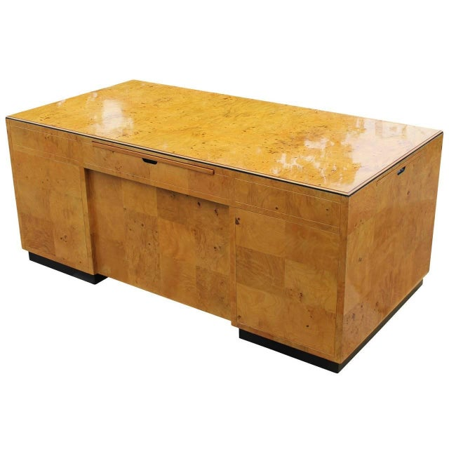 Mid-Century Modern 1970s Burl Executive Desk by Henredon For Sale - Image 3 of 7