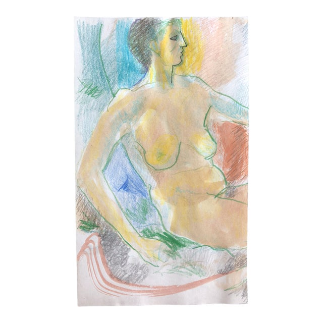 James Bone Female Nude Mixed Media, 1990s For Sale