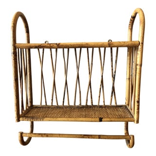 1970s Boho Chic Bamboo Bentwood Shelf For Sale