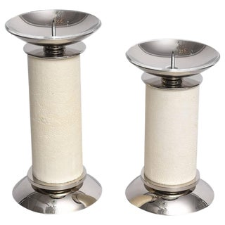 Two Piece Set of Karl Springer Candlesticks Ivory Shagreen and Nickel-Plated