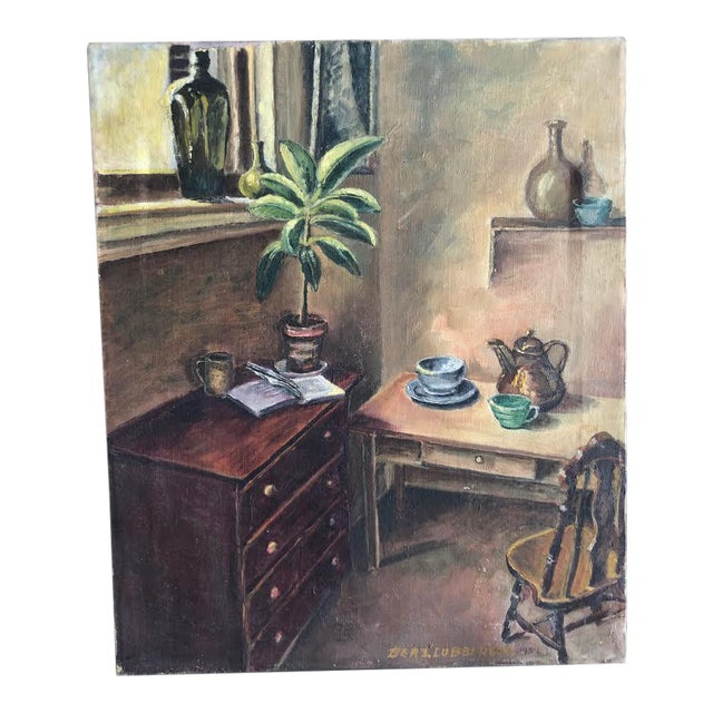 "Sitting Room Still Life Painting Signed ""Bert. Lobberegt 1952"" For Sale"