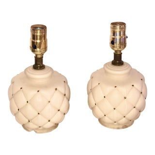 1940s Pineapple Quilted Ivory & Gold Boudoir Vanity Lamps - a Pair For Sale