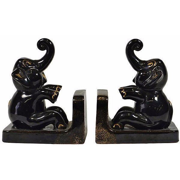 Black Elephant Ceramic Bookends - A Pair - Image 1 of 2