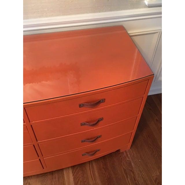 Hollywood Regency 1970s Hollywood Regency Hermes Orange Leather Wrapped Dresser For Sale - Image 3 of 7