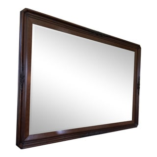 Oversized Antique Cherry and Burlwood Wall Mirror For Sale