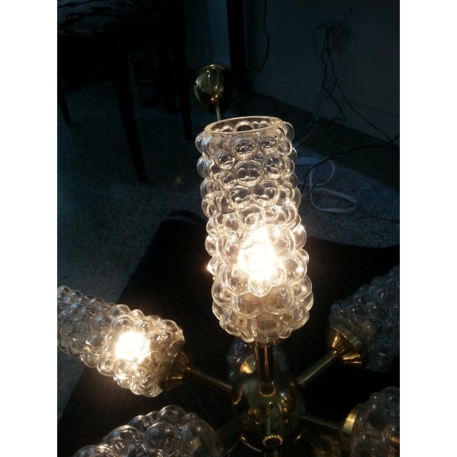 """Brass """"Sputnik"""" Chandelier With Bubble Glass and Brass 1960s For Sale - Image 8 of 11"""