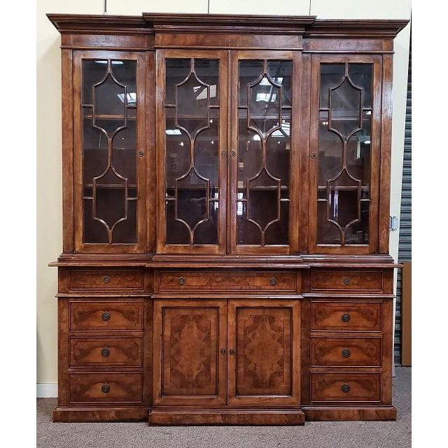 20th Century English Traditional Glazed Walnut Breakfront Cabinet For Sale - Image 13 of 13