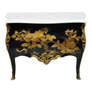 French Louis XV Style Marble Top Black & Gold Bombe Commode Chest For Sale