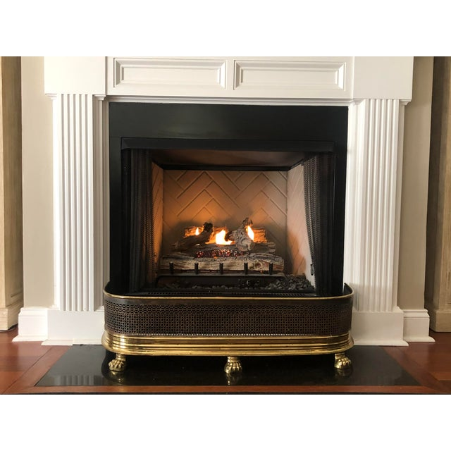 1920s Antique Brass Fireplace Fender With Log Catcher For Sale - Image 9 of 11