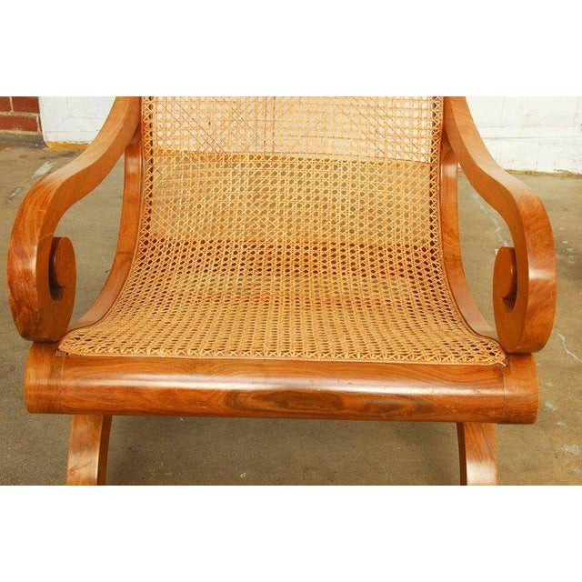 Wood Anglo-Indian Teak and Cane Plantation Chair For Sale - Image 7 of 13