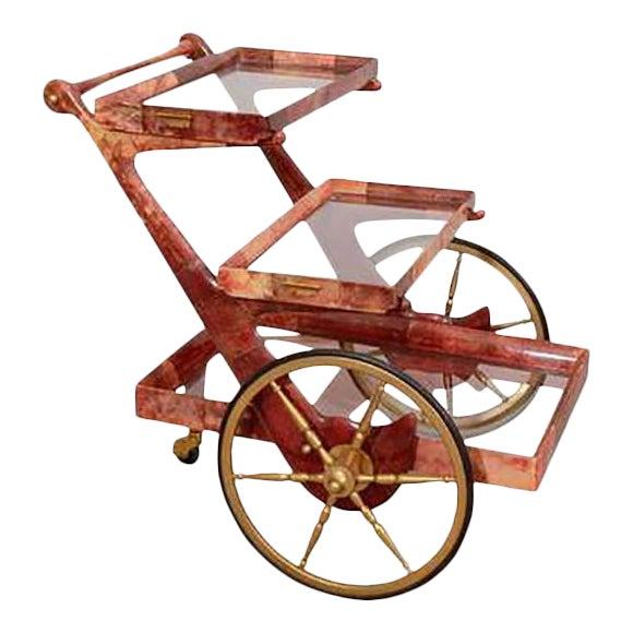 Mid-century Rose-tone Goatskin Bar Cart by Aldo Tura For Sale