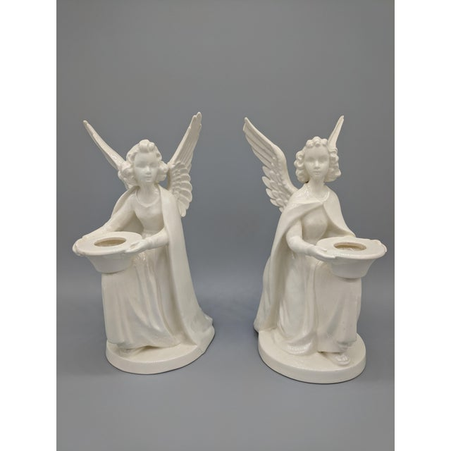 1960s Traditional German W. Geobel Ivory Angel Candleholders - a Set For Sale - Image 10 of 10