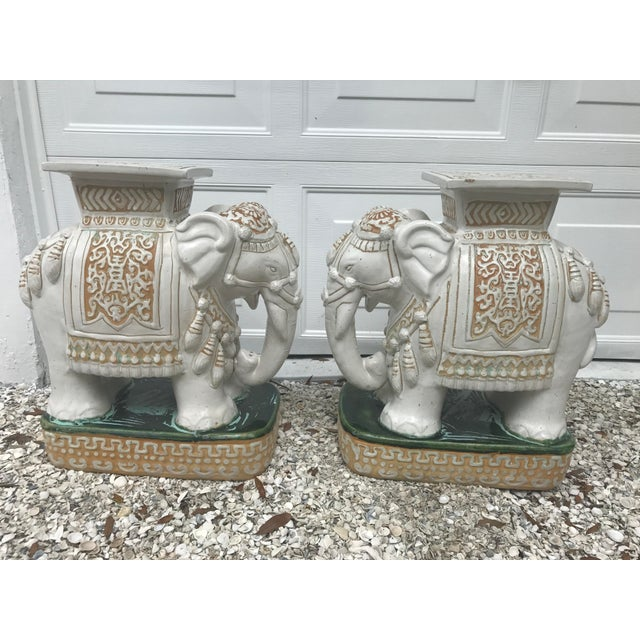 Vintage White Ceramic Elephant Garden Stools - A Pair For Sale - Image 4 of 11