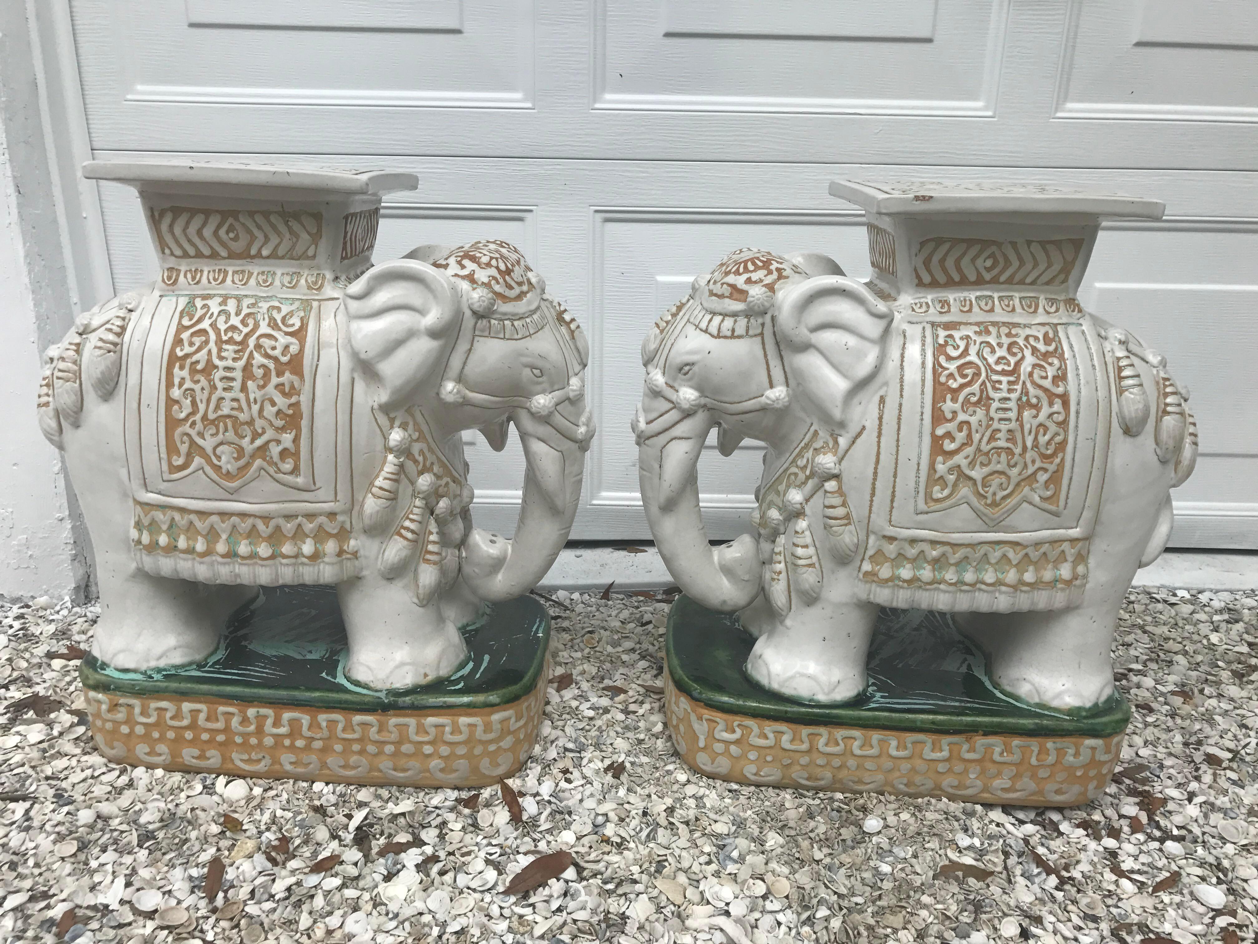Vintage White Ceramic Elephant Garden Stools   A Pair   Image 4 Of 11