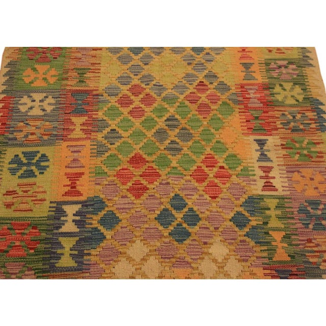 Textile Kilim Arya Romilly Ivory/Blue Wool Rug -3'7 X 7'2 For Sale - Image 7 of 8