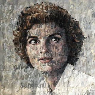 "Contemporary Portrait Oil on Canvas Painting ""Jackie O"" by Christina Major For Sale"