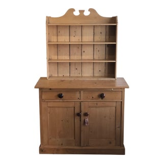 19th Century French Country Pine Server With Hutch For Sale
