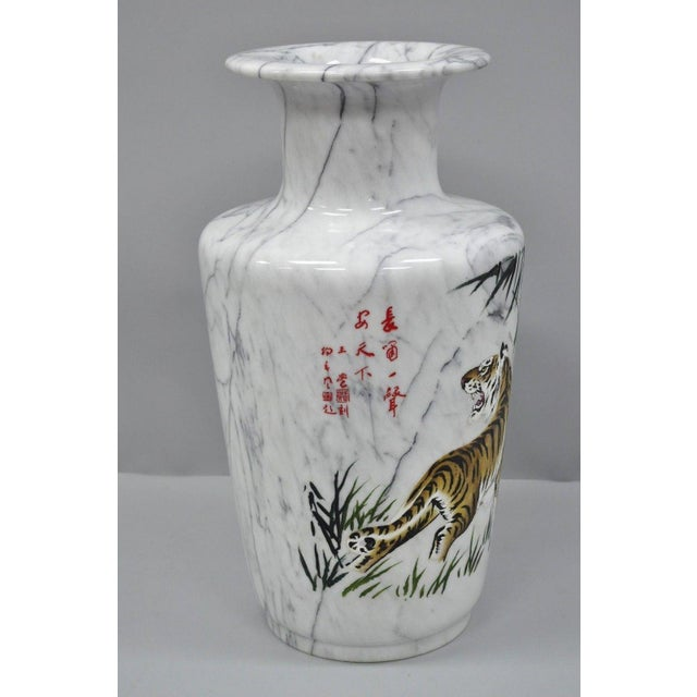 Carved & Painted Tiger Oriental Scene White Marble Vase Vessel For Sale In Philadelphia - Image 6 of 13