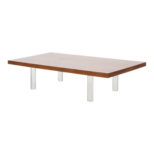 Milo Baughman Rosewood and Lucite Coffee Table For Sale