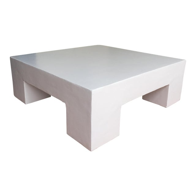 Mid-Century Scout Smooth Plaster Square Coffee Table For Sale