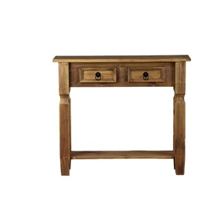 Reclaimed Wood French Country 2 Drawer Console Table