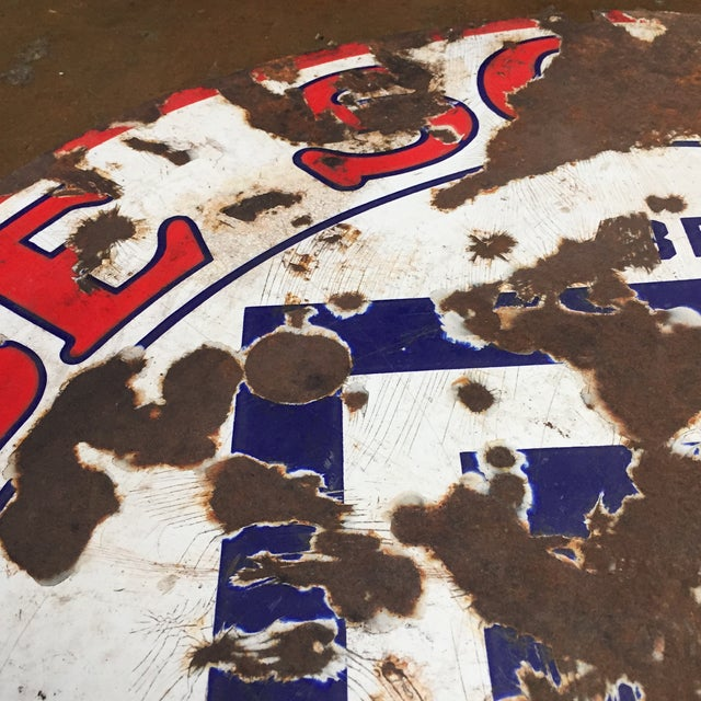 Large Be Square Motor Oil Sign Vintage Industrial - Image 3 of 6
