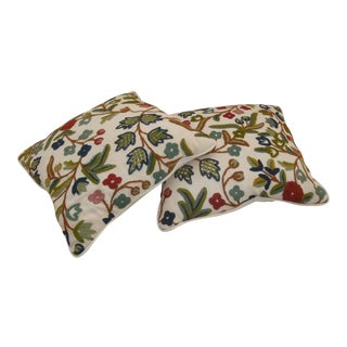Vintage Wool Crewel Embroidery Pillows - a Pair